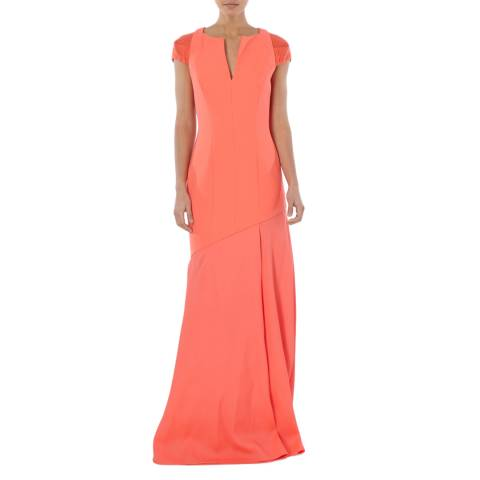 Amanda Wakeley Bright Orange Horizon Sculpted Tailoring Long Dress