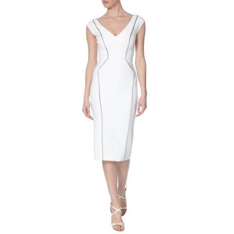 Amanda Wakeley White Sculpted Tailoring Cap Sleeve Dress