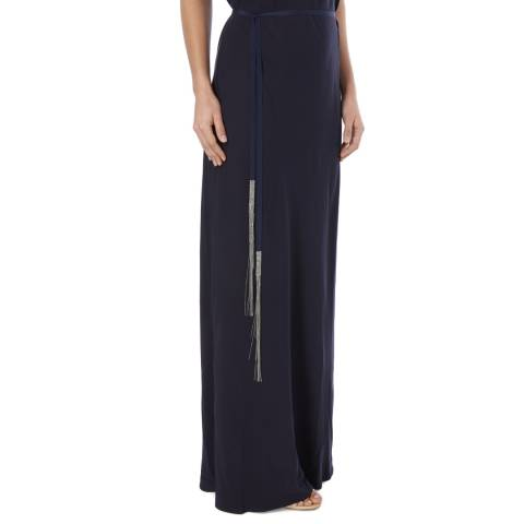Amanda Wakeley Navy Skinny Fringe Beaded Belt