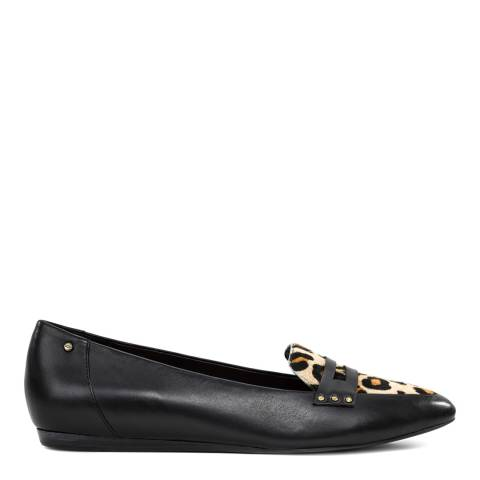 UGG Black And Leopard Leather Coty Penny Loafer