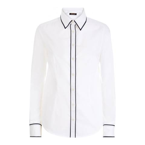 Jaeger White/Black Piped Workwear Shirt