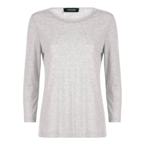 Jaeger Grey Lurex Stripe Crew Neck Jersey
