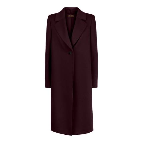 Jaeger Burgundy Wool Blend Boyfriend Coat