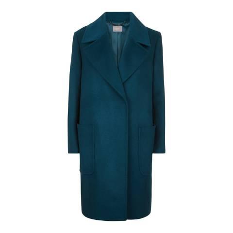 Jaeger Blue Wide Collar Cocoon Coat