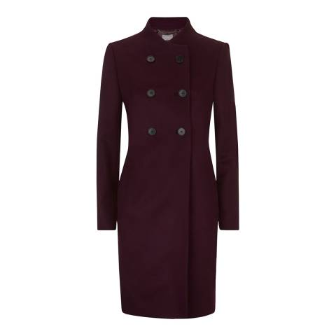 Jaeger Red Wine Button Detail Collarless Coat