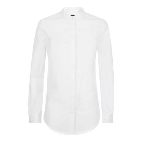 Jaeger White Grandad Collar Shirt