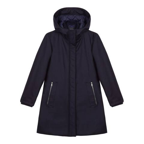Tricouni Navy Hooded Wool Blend Parka