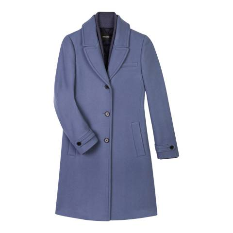 Tricouni Blue Single Breasted Double Wool Coat