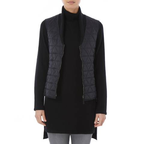 Tricouni Black Single Breasted Shawl Gilet