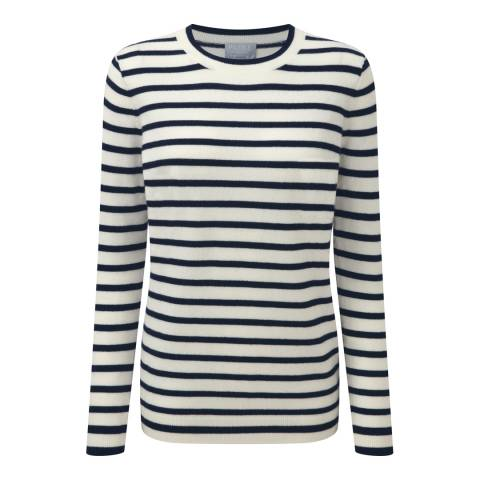 Pure Collection Soft White/Navy Stripe Cashmere Boyfriend Jumper