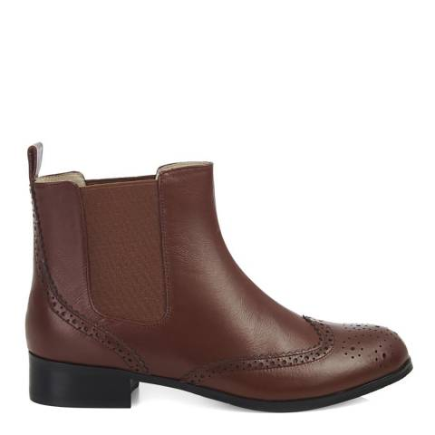 Yull Brown Leather Chelsea Ankle Boots