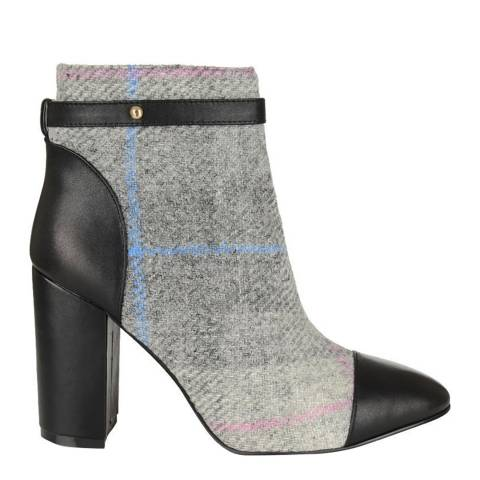Yull Black Leather And Grey Tartan Chester Block Heel Boot