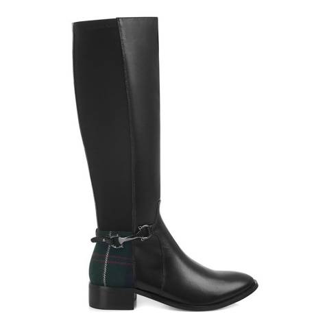 Yull Black Leather And Tartan Cumbria Knee High Boots