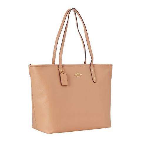 Coach Pale Pink Crossgrain Leather Large City Zip Tote