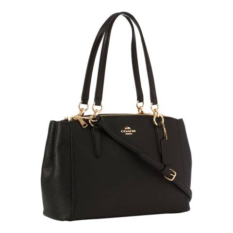 Coach Black Crossgrain Leather Small Christie Carryall Bag
