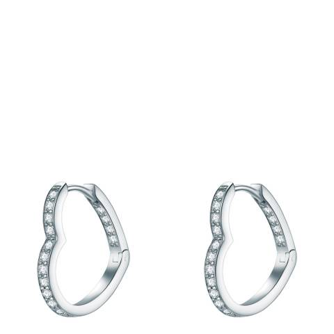 The Pacific Pearl Company Silver Heart Hoop Earrings