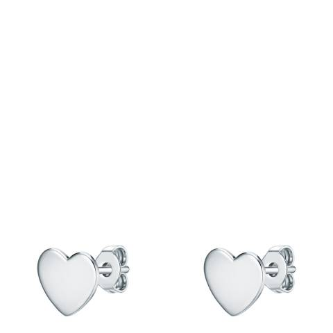 Saint Francis Crystals Silver Heart Earrings