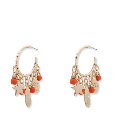 BiBi Bijoux Coral/Gold Charm Hoop Earrings