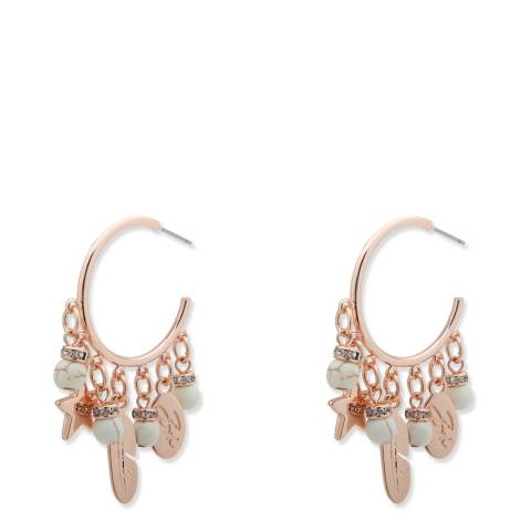 BiBi Bijoux Cream/Gold Charm Hoop Earrings