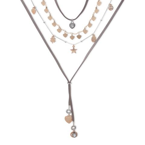 BiBi Bijoux Grey/Rose Charm Layered Suede Necklace