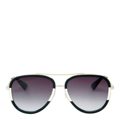 Gucci Womens Black with Gold Detail/Grey Sunglasses 57mm