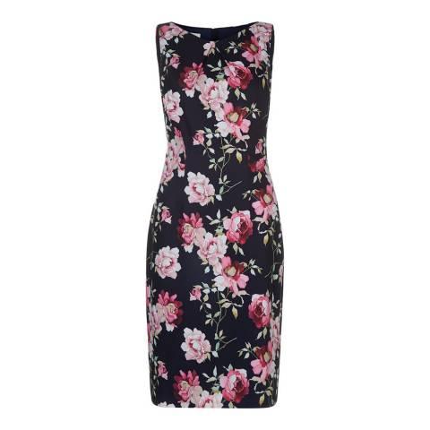 Hobbs London Navy/Pink Rita Rose Dress