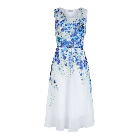 Hobbs London White/Blue Painted Delph Dress