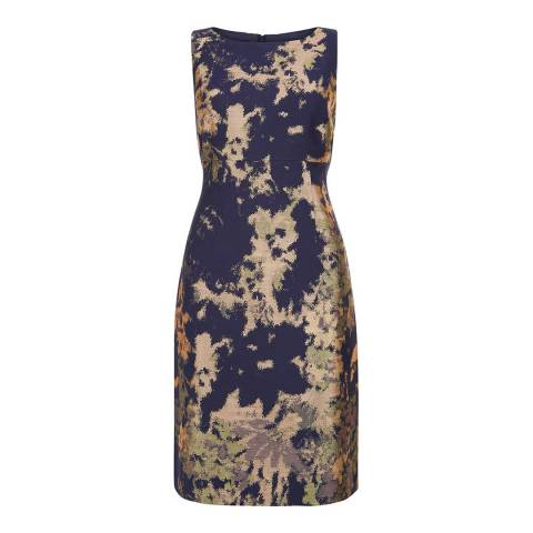Hobbs London Navy/Gold Rubis Dress