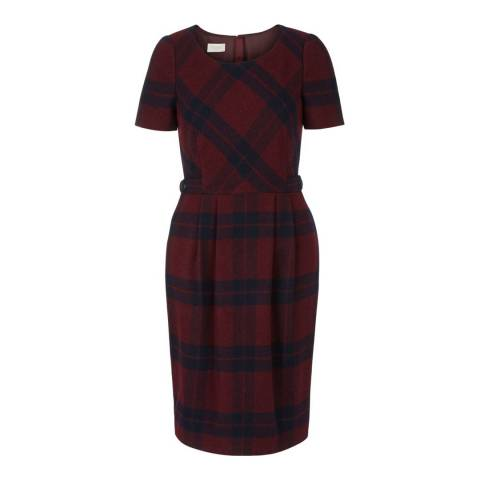 Hobbs London Navy/Burgundy Cassandra Dress