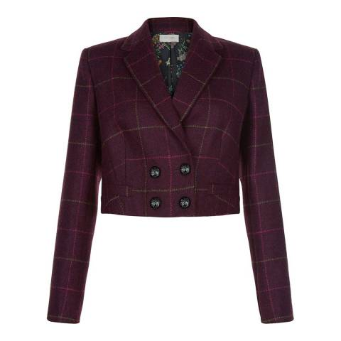 Hobbs London Burgundy Victoria Check Jacket