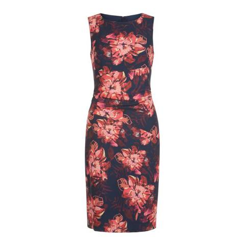 Hobbs London Navy/Pink Eva Dress