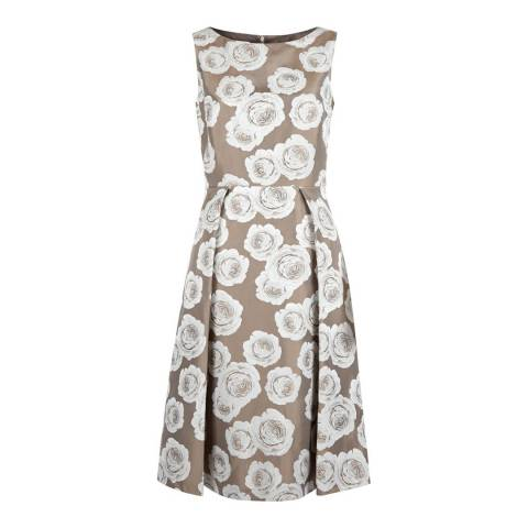 Hobbs London Beige/White Veronica Dress