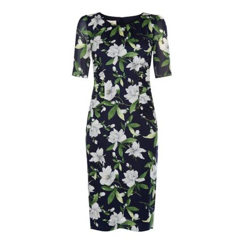 Hobbs London Navy/White/Green Stretch Silk Claudia Dress