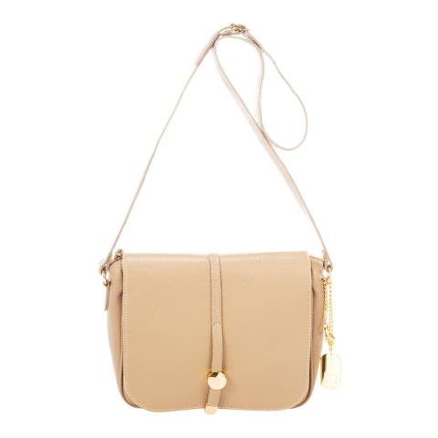 Federica Bassi Taupe Leather Cross Body Bag