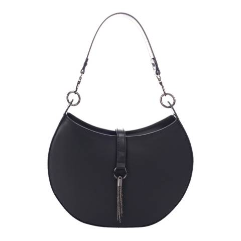 Massimo Castelli Black Leather Top Handle Bag