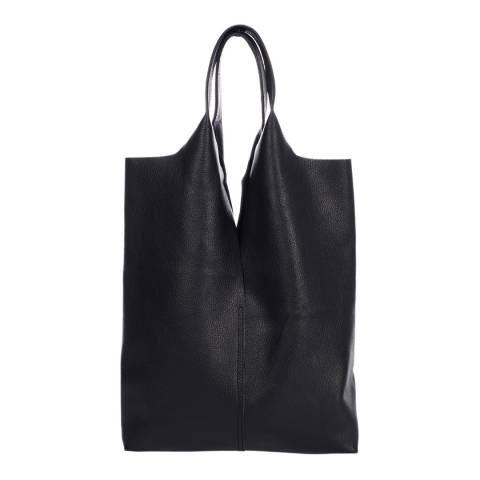 Giulia Massari Black Leather Shopper Bag