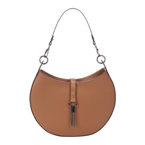 Massimo Castelli Cognac Leather Top Handle Bag