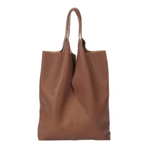 Giulia Massari Cognac Leather Shopper Bag