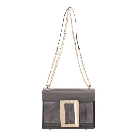 Giulia Massari Grey Leather Cross Body Bag