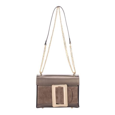 Giulia Massari Champagne Leather Cross Body Bag