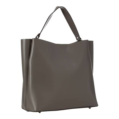 Giulia Massari Grey Leather Top Handle Bag