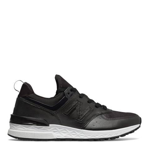 New Balance Womens Black Leather 574 Trainers