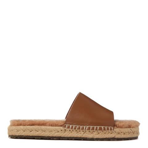 Australia Luxe Collective Caramel Shearling Lined Mojavi Platform Slide Sandal