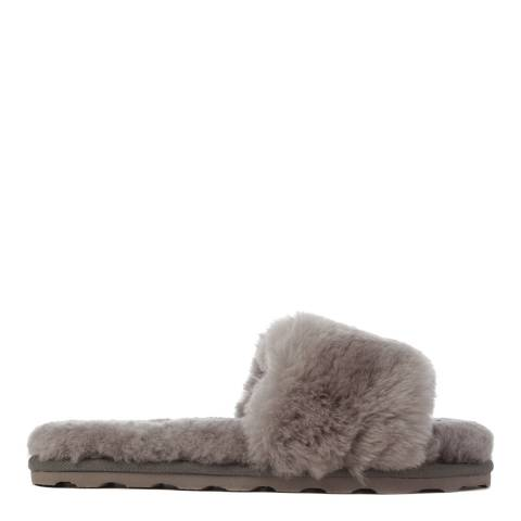Australia Luxe Collective Grey Shearling Vamp Slide Slippers