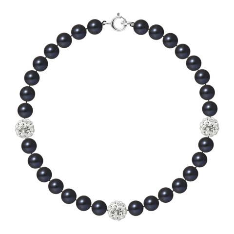 Pearline Black Pearl And Crystal Bracelet