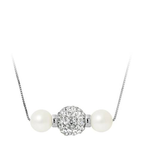 Pearline Double White Pearl / Crystal Necklace