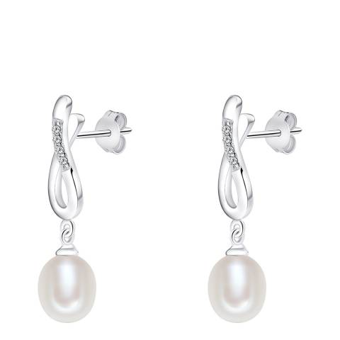 Nova Pearls Copenhagen White Zirconia Silver Pearl Stud Earrings