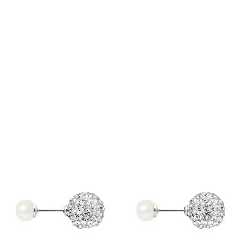 Mitzuko White Pearl And Crystal Button Earrings