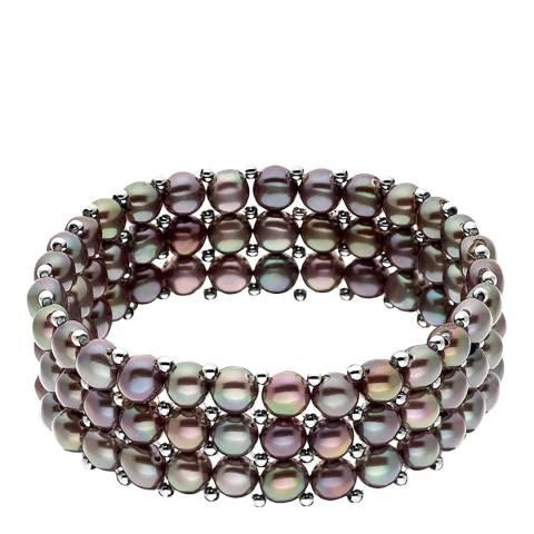 Mitzuko Black Row of Three Pearl Bracelet