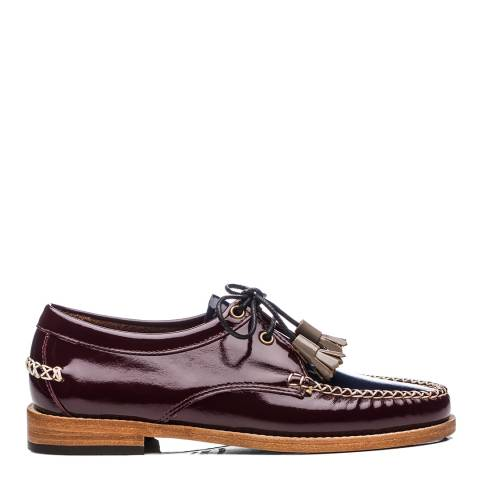 GH Bass Ladies Bordo & Navy Patent Leather Evie Loafer